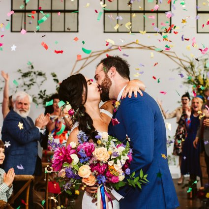 Supersonic Hearts Band featured in Nicole and Luke's Colourful Wedding at the Distillery's Airsh…