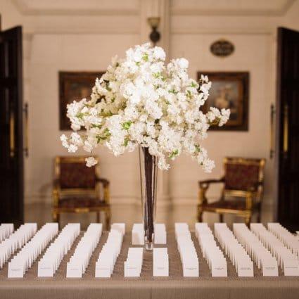 DT Floral & Décor featured in Samara & Eli's Classically Elegant Wedding at Bellvue Manor