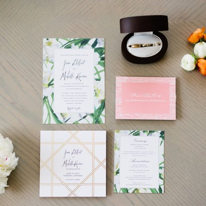 Paperless Post featured in Michelle and Jesse's Tropical Themed Rooftop Wedding at Malap…
