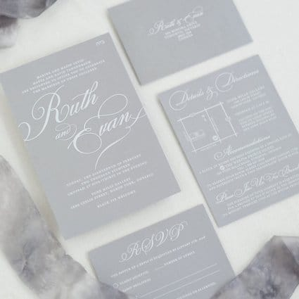 Paper Impressions Inc. featured in Ruth and Evan's Romantic Wedding at York Mills Gallery