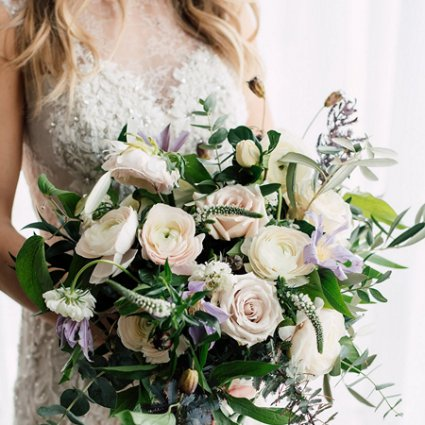 Flowers Time featured in Ruth and Evan's Romantic Wedding at York Mills Gallery