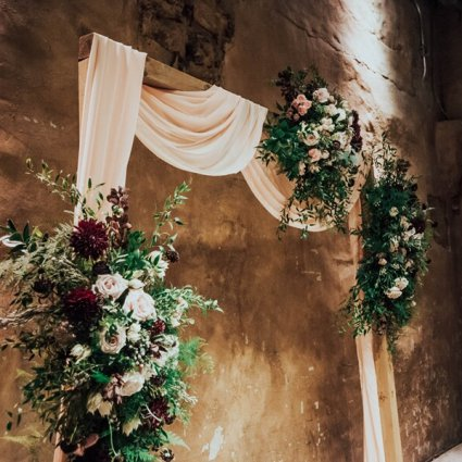 Jackie O Florists featured in Christina and Santino's Romantic Fermenting Cellar Wedding
