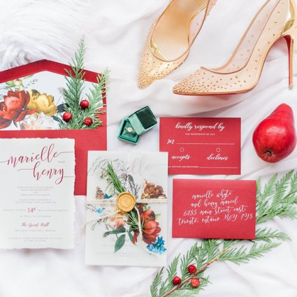 The Polka Dot Paper Shop featured in A Marriage in a Pear Tree: A Beautiful Holiday Style Shoot