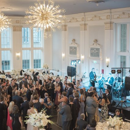Sky's Band featured in Dana and Fraser's Sweetly Elegant Affair at The King Edward H…