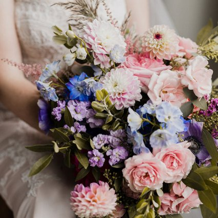 Flowers Time featured in Hayley and Jeff's Ultra Romantic Wedding at the Alpine Ski Club