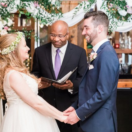 Garry Francis Officiating Service featured in Erin and Alexander's Warm Wedding at Archeo