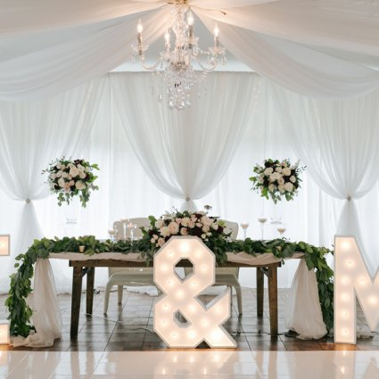 Marquee Letters Toronto featured in Ella and Mike's Elegant Wedding at Harding Waterfront Estate
