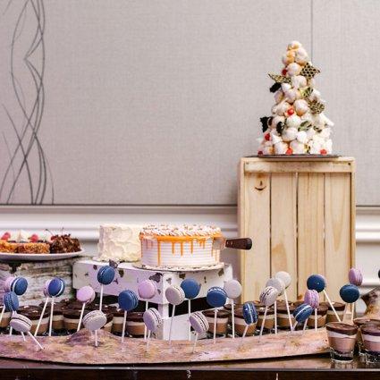 Guerdoo Cakes featured in Rachel & Mike's Lush Garden Wedding at the Arlington Estate