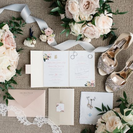 Brooklin Paper Co. featured in Nikki and Warren's Timelessly Elegant Wedding at Liberty Gran…