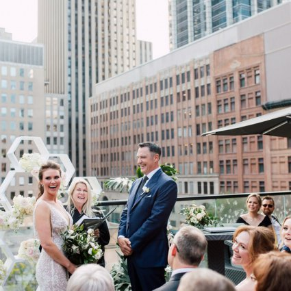 Sarahmonies featured in Stephanie & Timothy's Modern Geometric Wedding at The Chase