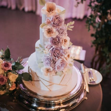 Bloom Cake Co. featured in Grace and Elbert's Urban Chic Wedding at York Mills Gallery