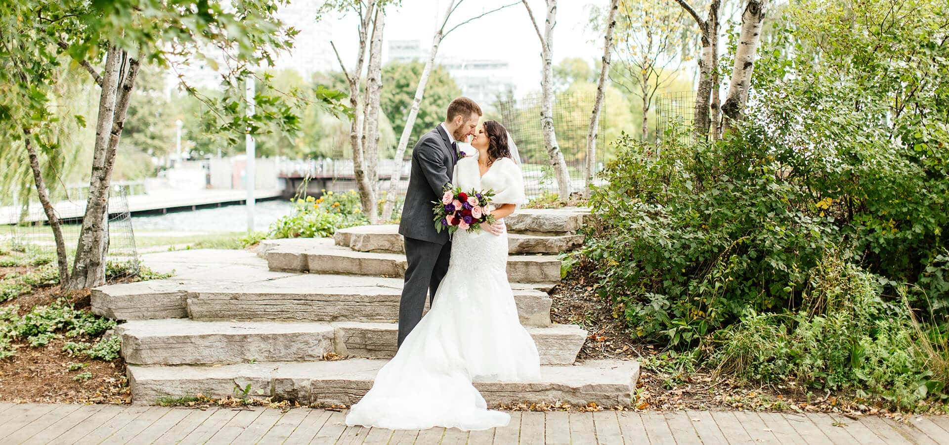 Hero image for Stella and Adam's Astronomical Wedding at Steam Whistle