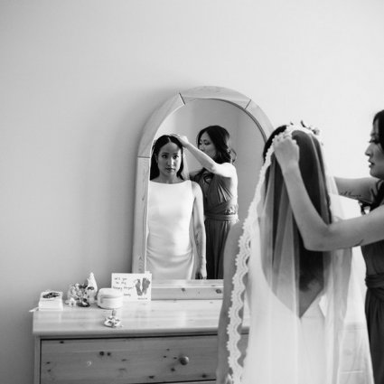 Makeup Artist Stefania featured in Megan and Aaron's Boho Chic Wedding at The Doctor's House