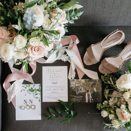 Impressions Invitation and Design Studio featured in Nerissa and Neil's Urban Downtown Wedding at Airship37