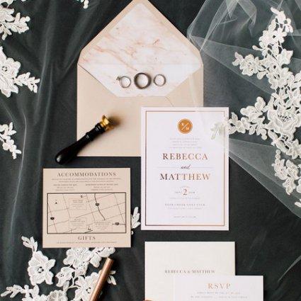 Brooklin Paper Co. featured in Rebecca and Matthew's Romantic Garden Style Wedding at Deer C…