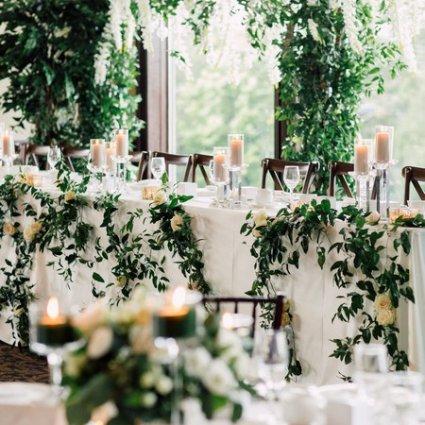 Sara Baig Designs featured in Rebecca and Matthew's Romantic Garden Style Wedding at Deer C…