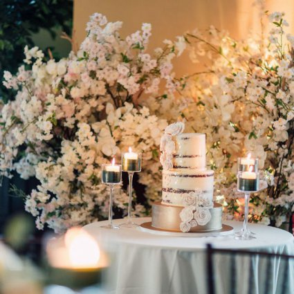Cake Creations by Michelle featured in Rebecca and Matthew's Romantic Garden Style Wedding at Deer C…