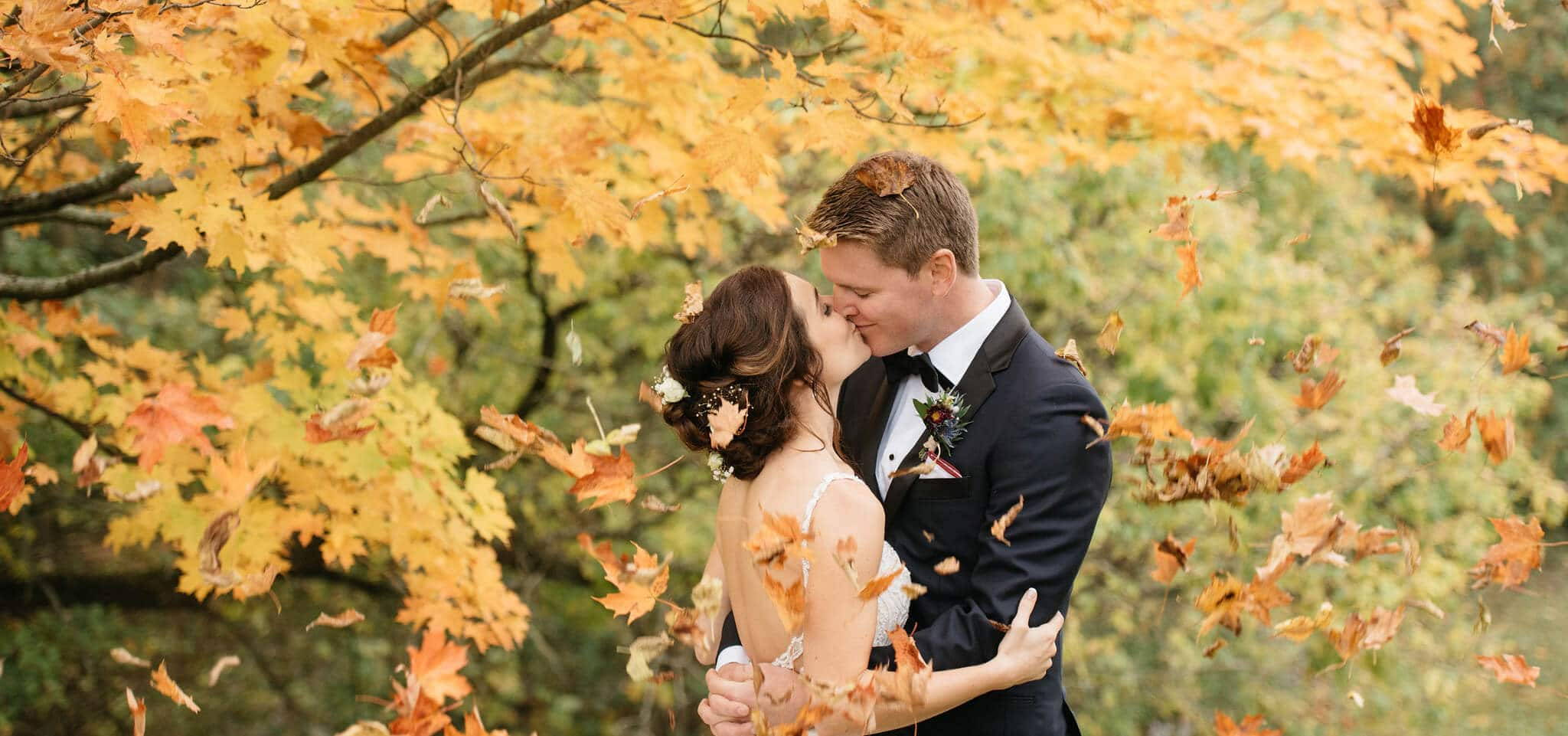 Hero image for Lauren and Brad's Cozy Fall Wedding at the Manor