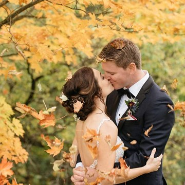 Lauren and Brad's Cozy Fall Wedding at the Manor