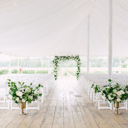 Bloom & Co. featured in Dustynne and Fraser's Country Chic Wedding at Kurtz Orchards