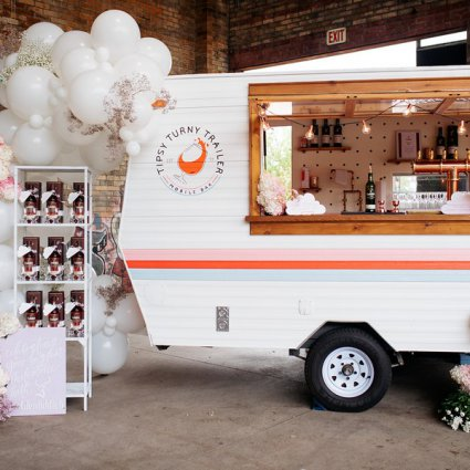 Tipsy Turny Trailer Mobile Bar featured in Love by Lynzie Presents: The Largest Pop Up Wedding Chapel To…