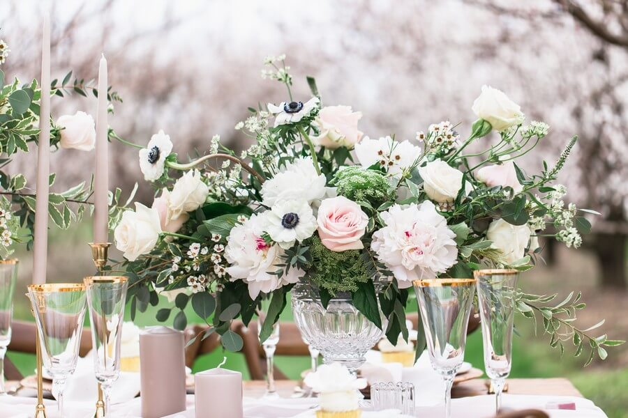 romantic earthy spring cherry blossom styled shoot, 20