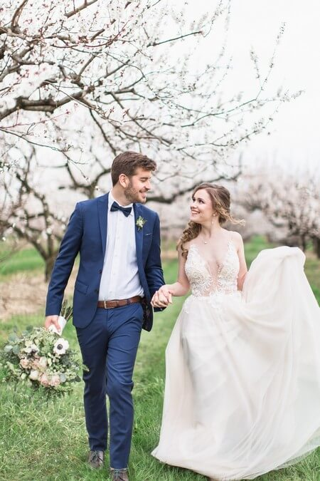 romantic earthy spring cherry blossom styled shoot, 26