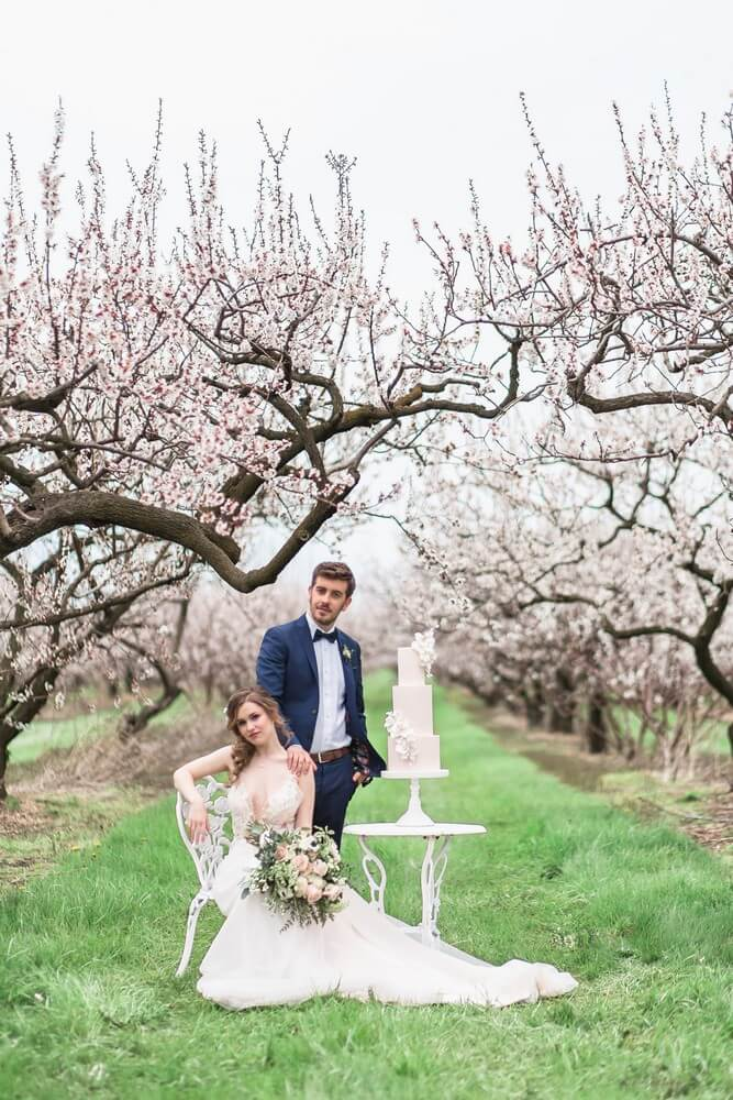 romantic earthy spring cherry blossom styled shoot, 24