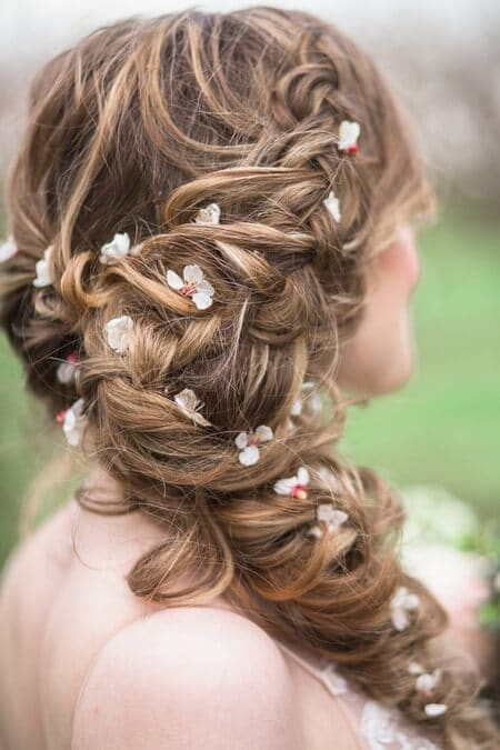 romantic earthy spring cherry blossom styled shoot, 3