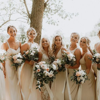 Bellwood Blooms featured in Sarah and Andrew's Country Chic Wedding at Cambium Farms