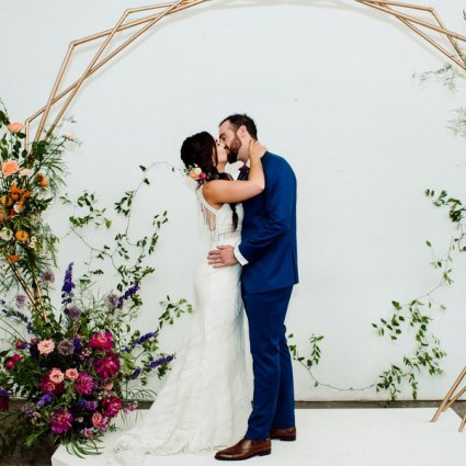 Love by Lynzie Events + Design featured in Nicole and Luke's Colourful Wedding at the Distillery's Airsh…