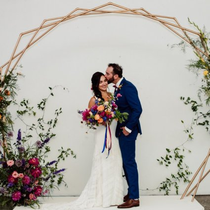 Airship 37 featured in Nicole and Luke's Colourful Wedding at the Distillery's Airsh…