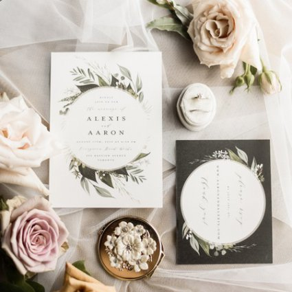 Brooklin Paper Co. featured in Alexis and Aaron's Romantic Evergreen Brick Works Wedding