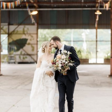 Evergreen Brick Works featured in Alexis and Aaron's Romantic Evergreen Brick Works Wedding