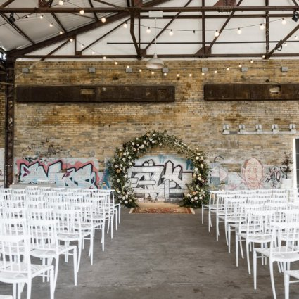 Bisous Events featured in Alexis and Aaron's Romantic Evergreen Brick Works Wedding