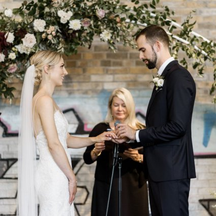 Sarahmonies featured in Alexis and Aaron's Romantic Evergreen Brick Works Wedding