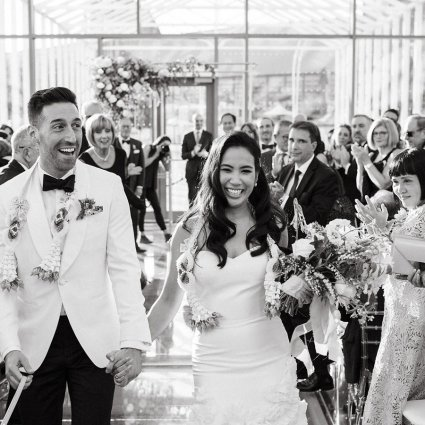 Dear Darling featured in Anita and Corey's Classic White Wedding at Toronto's Hotel X