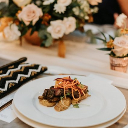 Toben Food by Design featured in Courtney and Tyler's Gorgeous Fall Wedding at the Symes