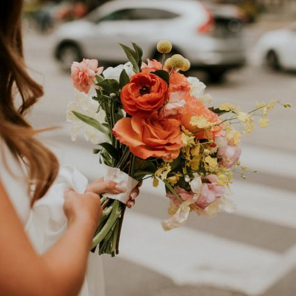 Floral Werx featured in Sasha and Lorne's Colourful Wedding at Assembly Chef's Hall