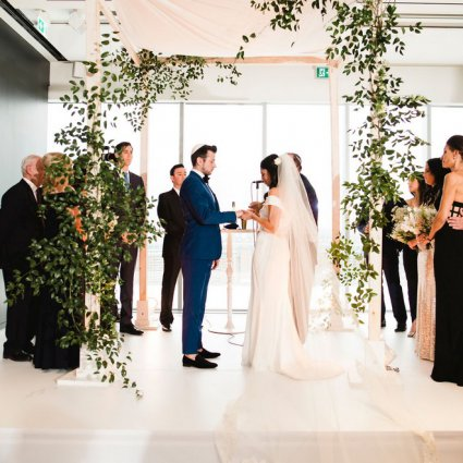 Blush and Bloom featured in Courtney and Aaron's Glam Wedding at the Globe and Mail Centre