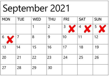 Dates to Avoid