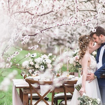 Romantic, Earthy Spring Cherry Blossom Styled Shoot
