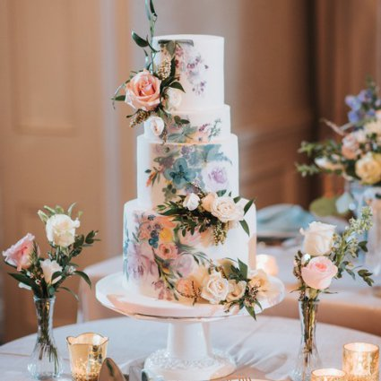 "Flour and Flower Cake Design featured in Carol and Sam's ""Alice in Wonderland"" Wedding at Graydon Hall"