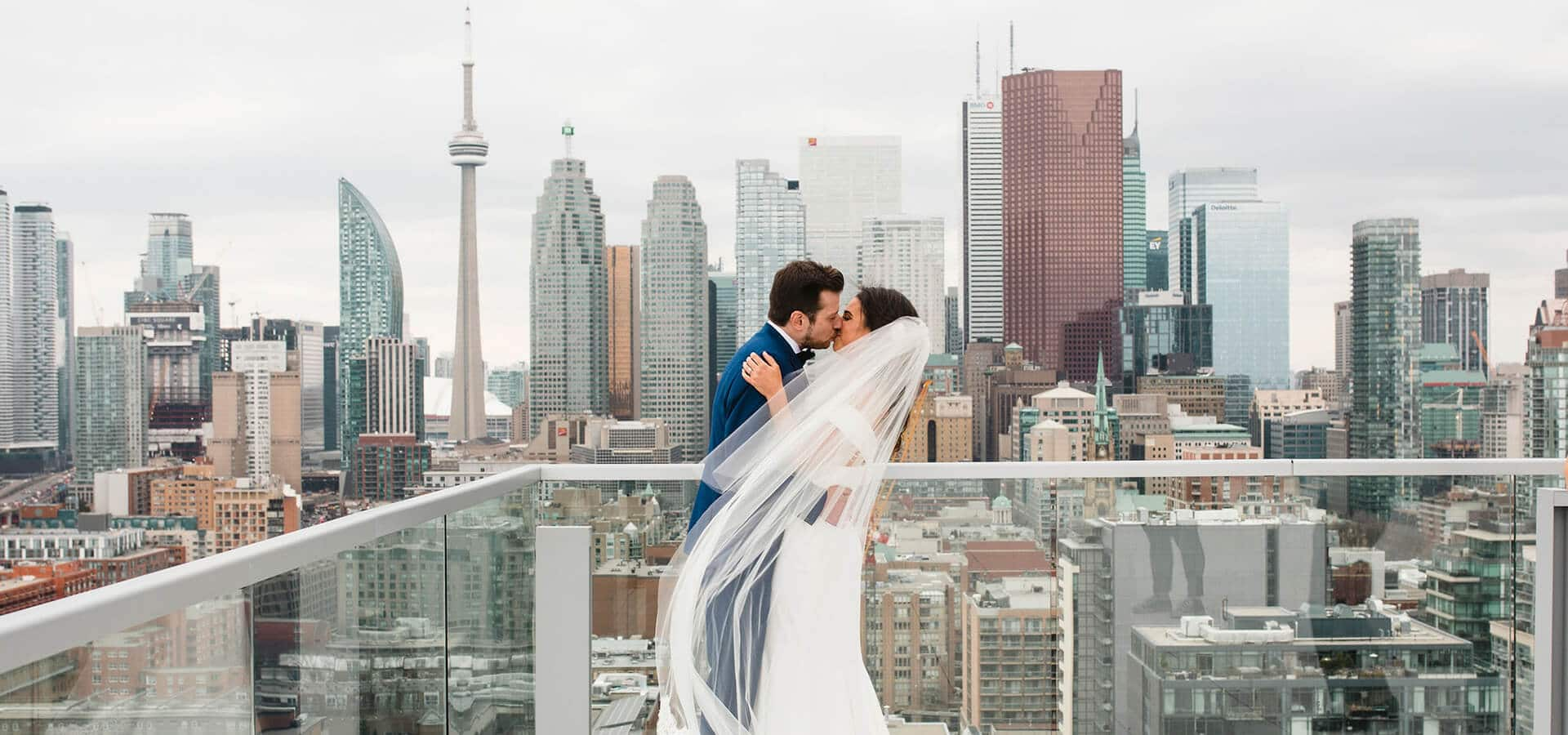 Hero image for Courtney and Aaron's Glam Wedding at the Globe and Mail Centre