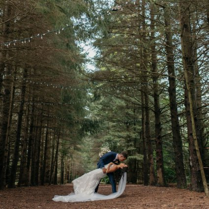 Kortright Eventspace featured in Andrea and Erik's Elegant Wedding at King's Riding Golf Club