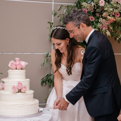 Dufflet Pastries featured in Caroline and JP's Modern and Trendy Hotel X Wedding