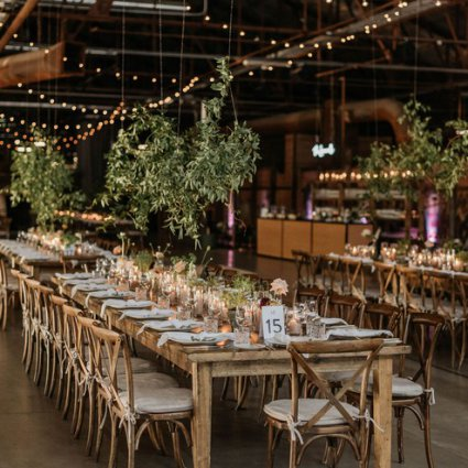 Ashley Pigott Events featured in Leslie and Damien's Rustic-Chic Wedding at Evergreen Brick Works