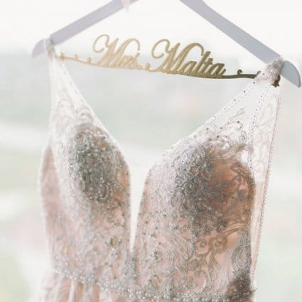 Becker's Bridal featured in Shari and Antonio's Luxe Wedding at York Mills Gallery