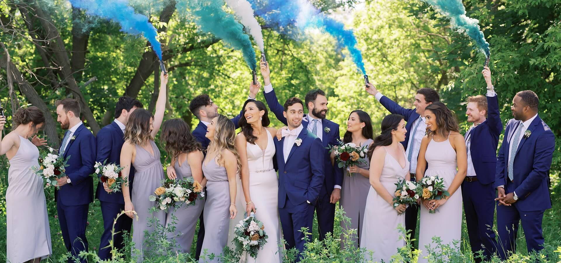 Hero image for Kayla and Mike's Blue-and-White Wedding at the Symes