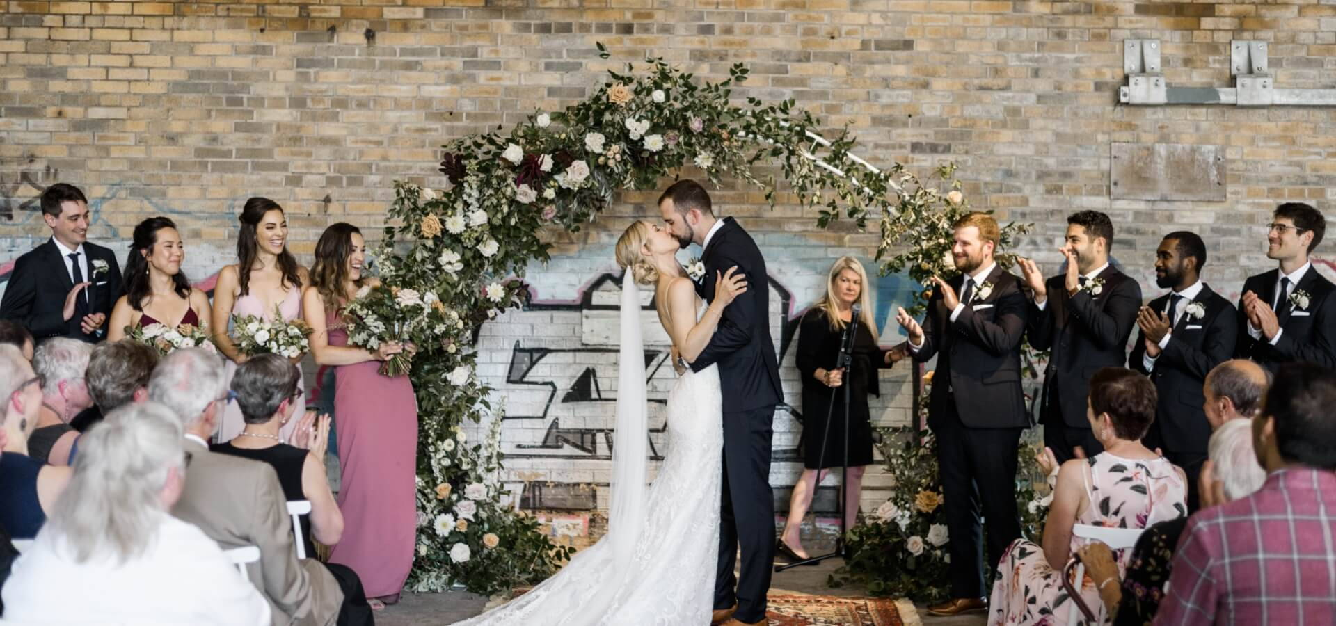 Hero image for Alexis and Aaron's Romantic Evergreen Brick Works Wedding